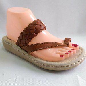 COPY - SBICCA Comfort Leather Slides  Toe Loop Sa…